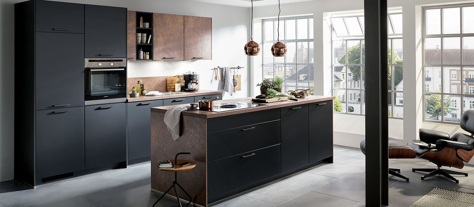 Cuisine Design Contemporaine Noir Mat Meuble Cuisine Style Cuisine Cuisine Noire