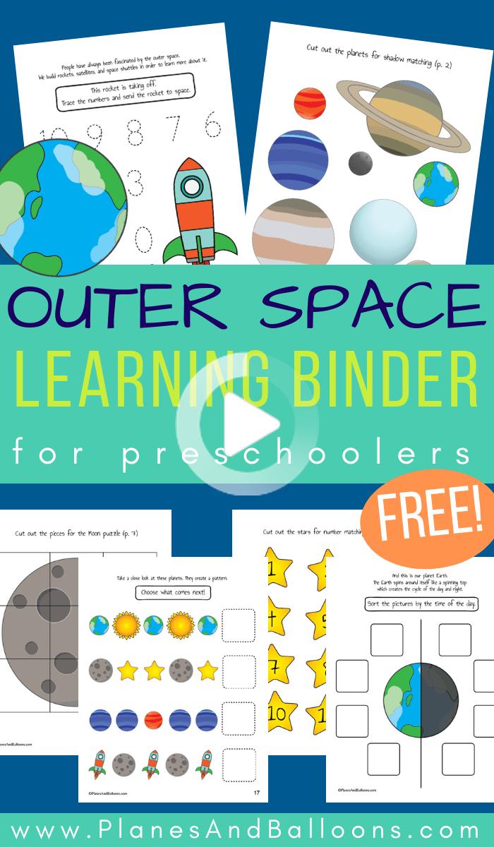 Preschool Space Activities Learning Binder Free Printable Space Activities Preschool Space Theme Preschool Space Activities For Kids [ 1200 x 700 Pixel ]