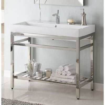 Empire Industries South Beach Stainless Steel Console Vanity For Milano  Ceramic Sink