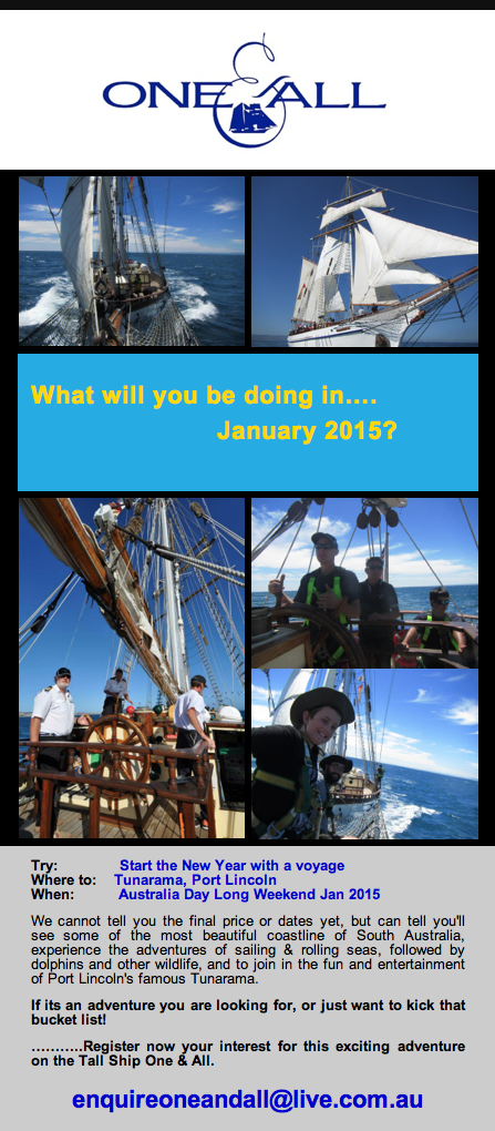Register for Sailing Voyage to Tunarama, Port Lincoln, Jan 2015