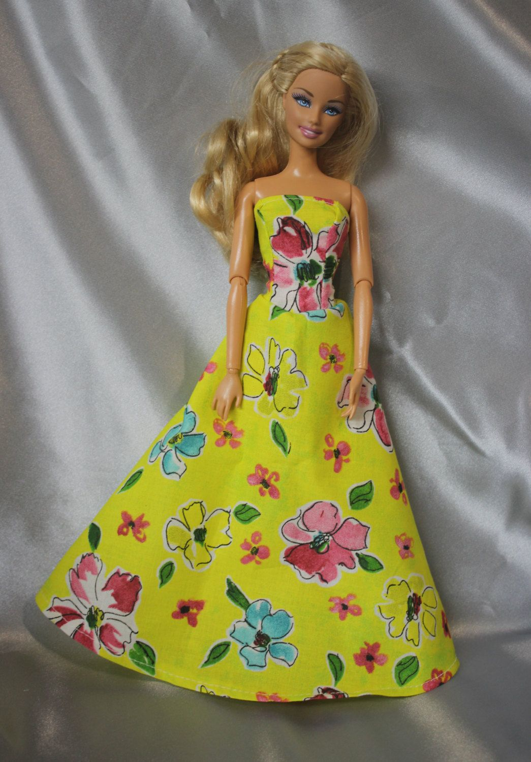 Barbie doll yellow long dress by barbiekend on etsy dolls