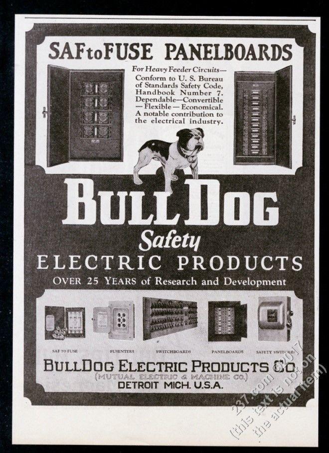 1928 bulldog art bull dog electric products fuse box etc photo rh pinterest com Old Electrical Fuse Panels Old Electrical Fuse Panels