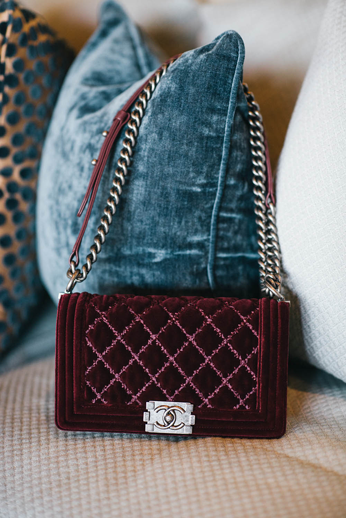 a5f21a3d89d3ad This velvet chanel bag matches our new burgundy BLANKNYC Skinnies to a tee  <3 #MatchMadeInHeaven