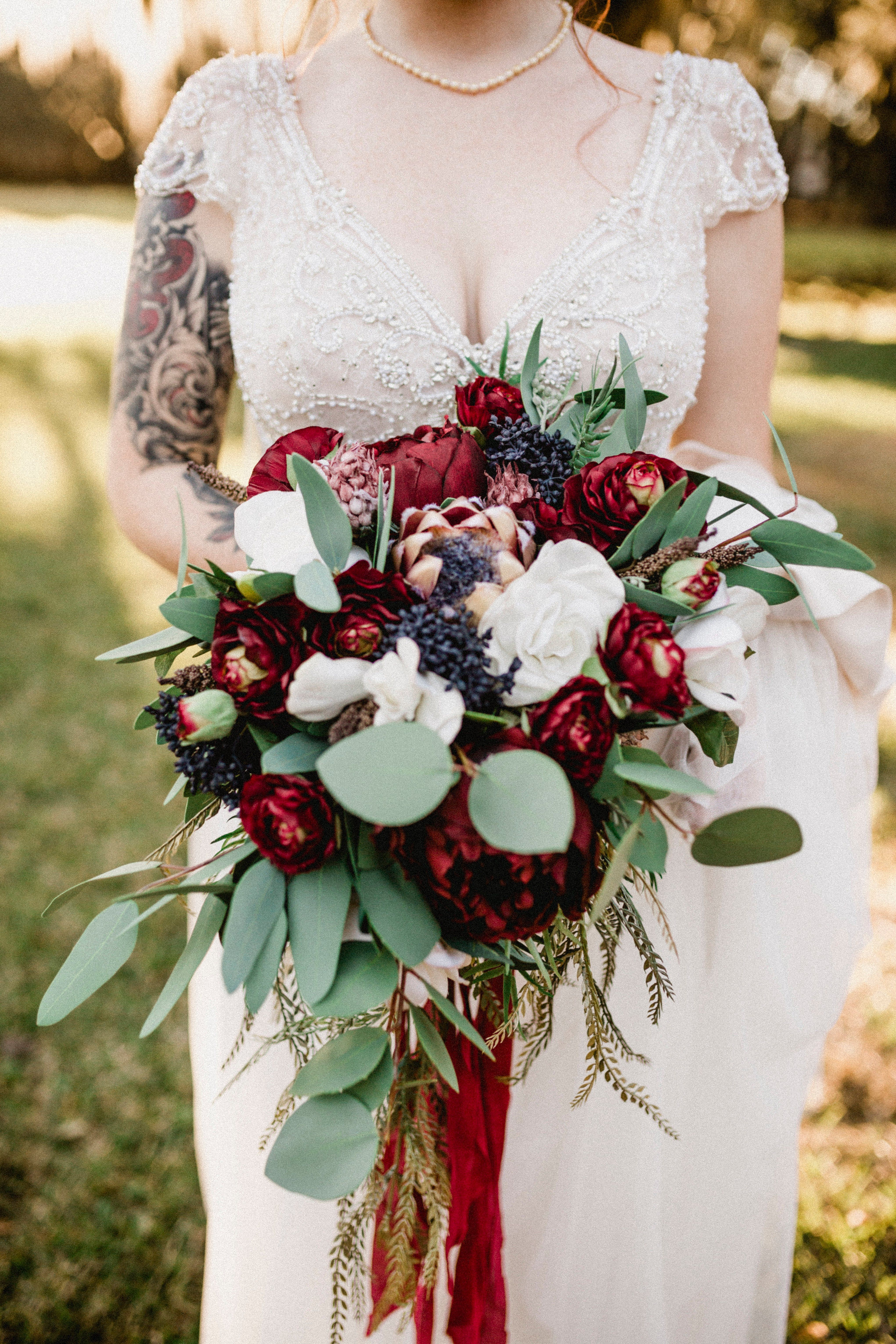 Cascading Bouquets With Lots Of Colors Silk Flower Wedding