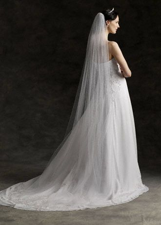 My veil! Very affordable :) and so classic! Chapel length veil with pencil edge