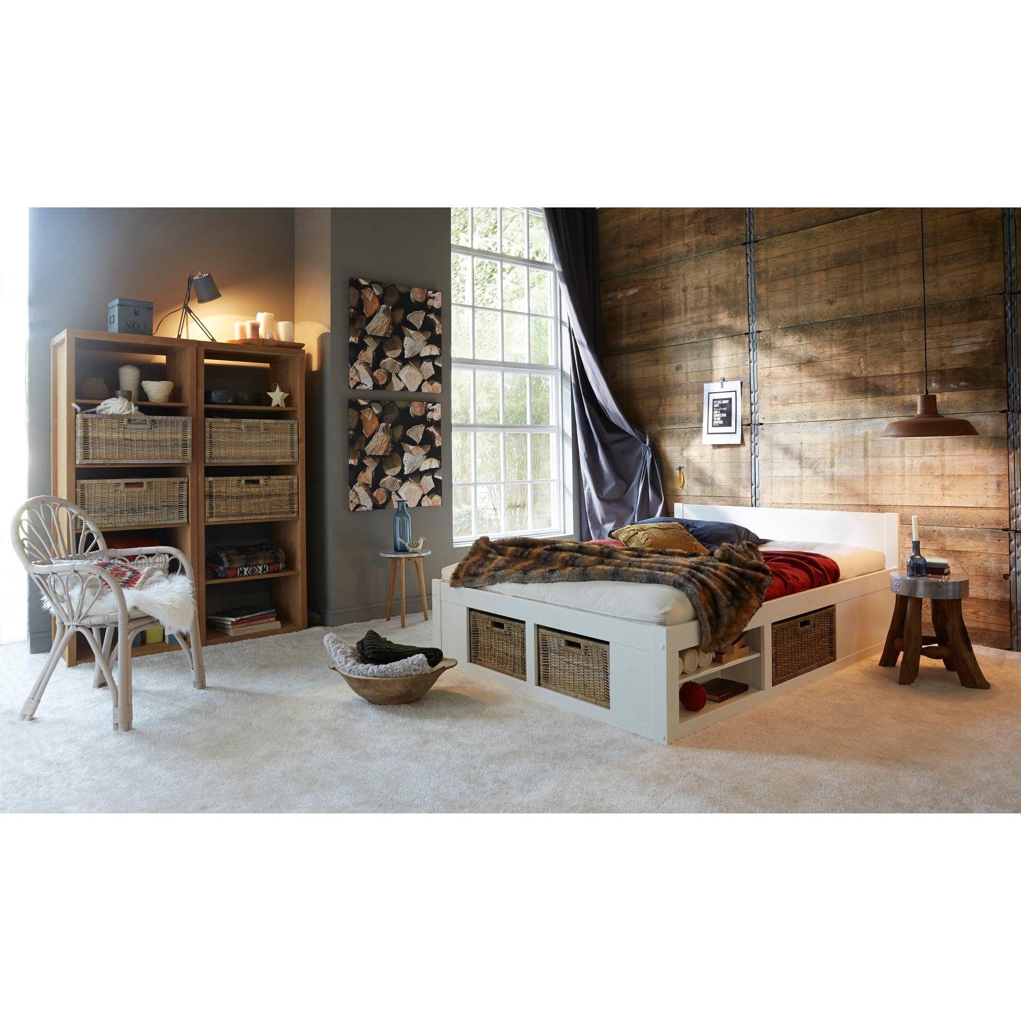 lit 2 personnes multi rangements helsinki en pin massif avec sommier et paniers int gr s 3. Black Bedroom Furniture Sets. Home Design Ideas