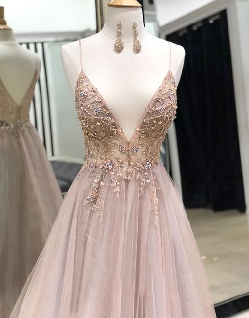 Schöne glamouröse maßgeschneiderte V-Ausschnitt Tüll langes Abendkleid, Spag…