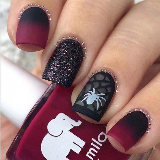 Pretty Ombre Spider Nails for Halloween #acrylicnails ...
