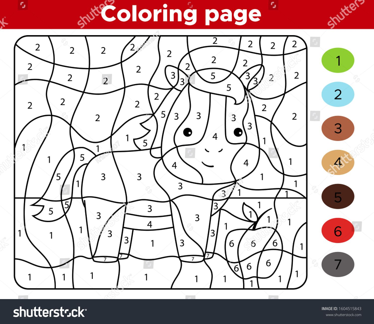 Color By Numbers Educational Game For Preschool Children