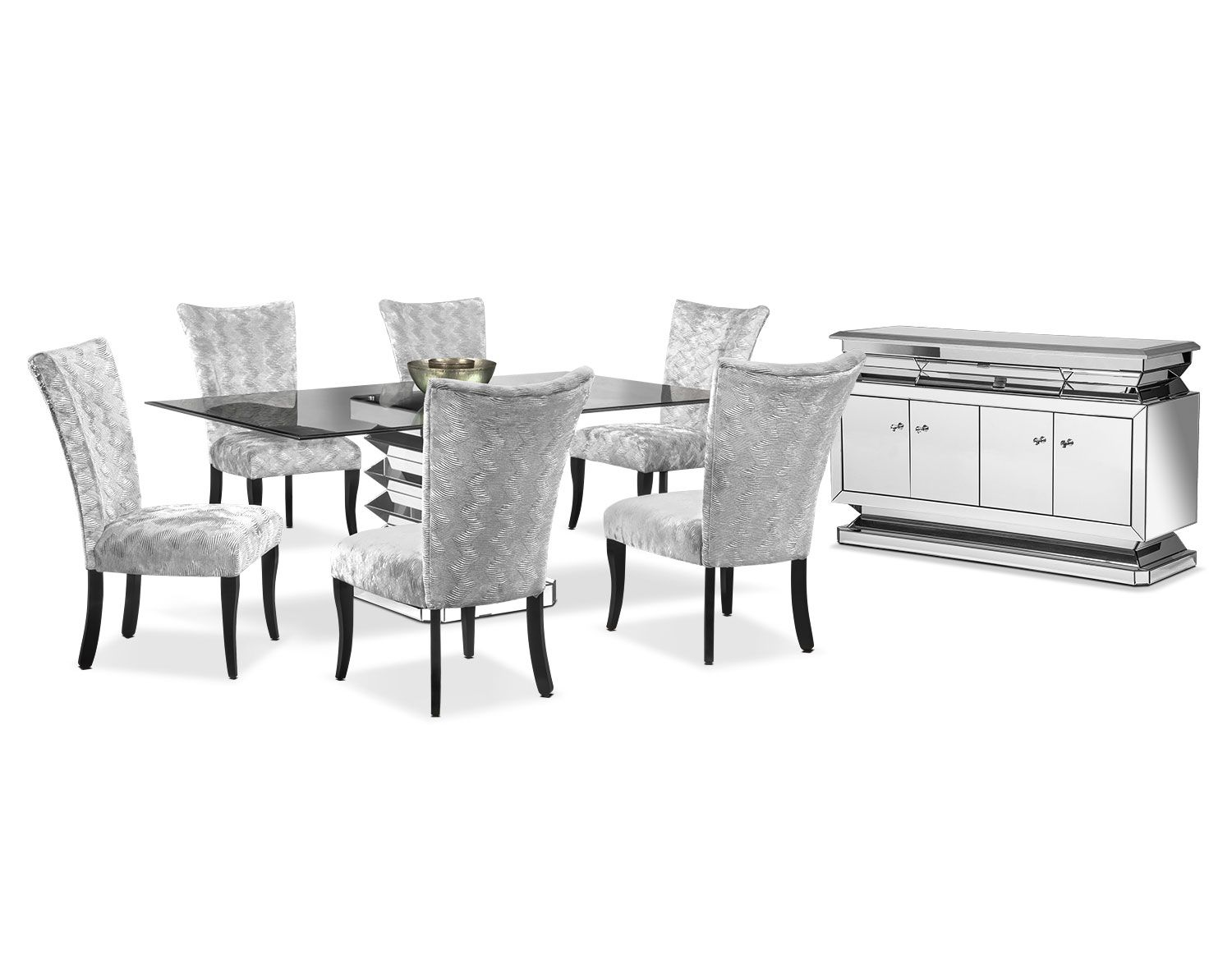 beautiful meals the vibrato dining collection in silver maintains dining room furniture vibrato table and 6 chairs silver