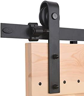 CCJH 8FT-242cm Quincaillerie Kit de Rail Roulettes pour Porte Coulissante Hardware pour une Porte Suspendue en Bois Sliding Barn Door Hardware T Shaped