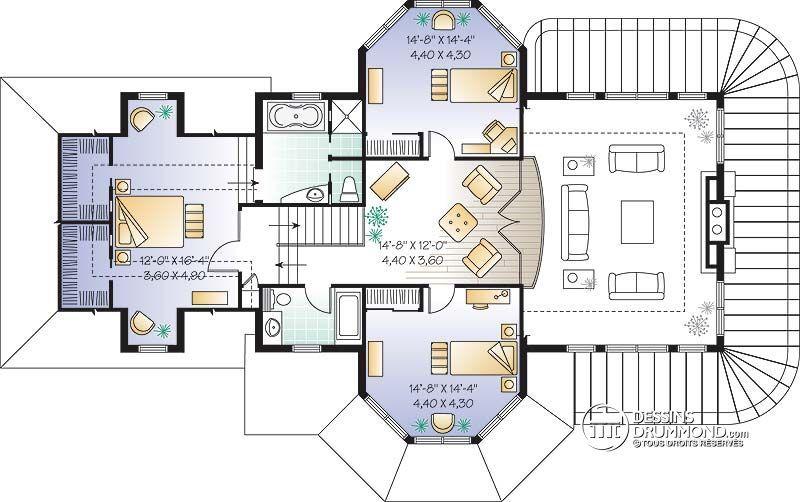 Détail du plan de Maison unifamiliale W3431 architecture moderne