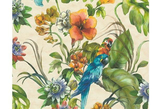 Tropisches Feeling, durch eine Tapete mit Blumen und Papageien