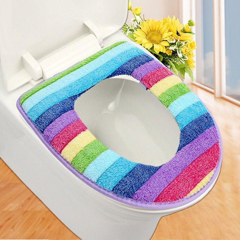 bathroom set colorful toilet set cover wc seat cover bath mat holder ...