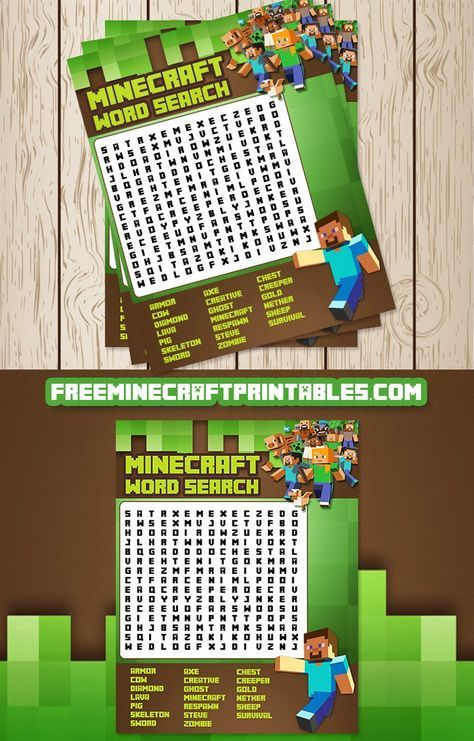 Free Minecraft Printables Free Printable Minecraft Word Search Game Minecraft Printables Free Minecraft Party Favors Minecraft Birthday