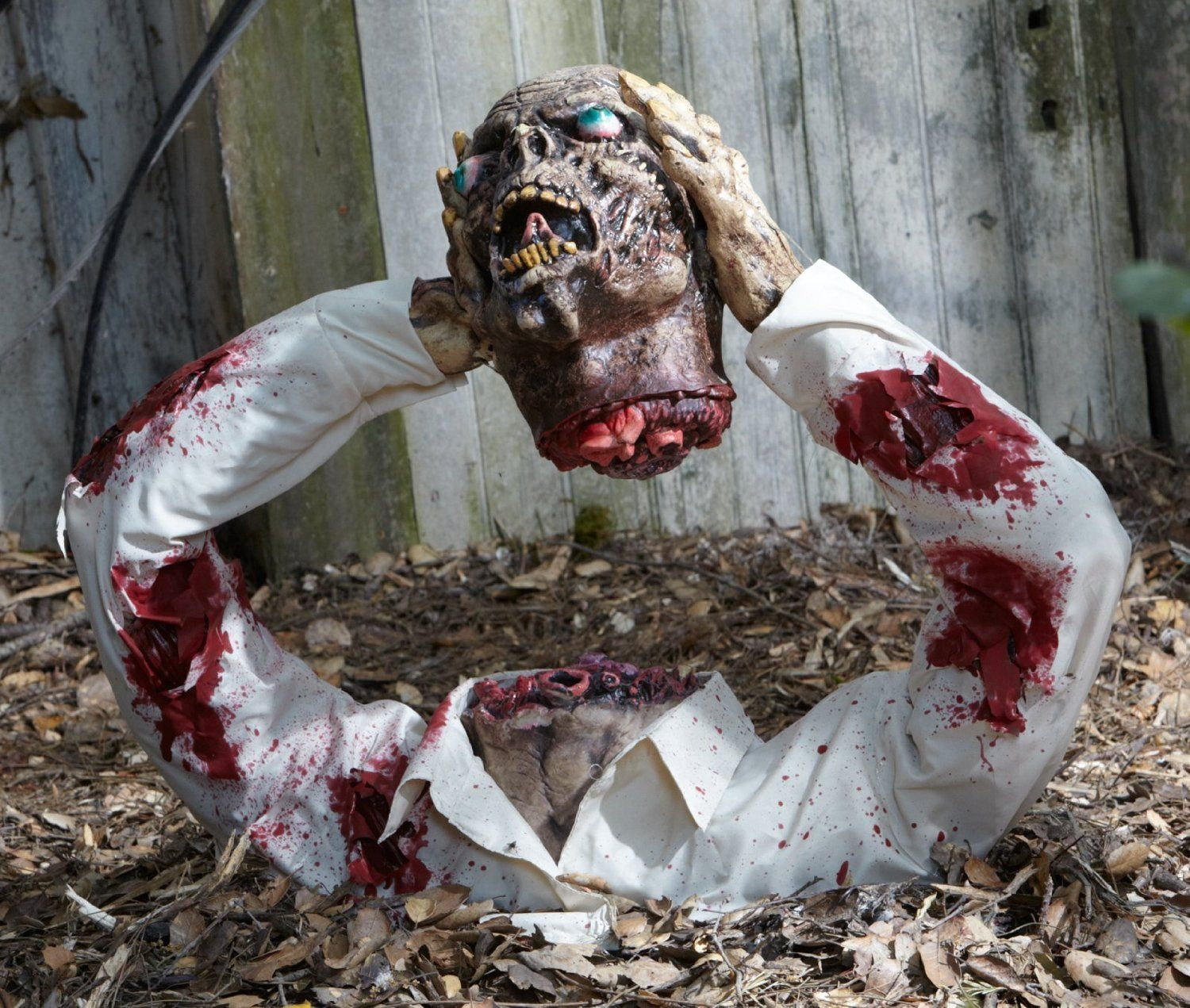 Ideas, Most Horrifying Halloween Zombie Decorations With White Shirt And  Blood Stains Also Head Off