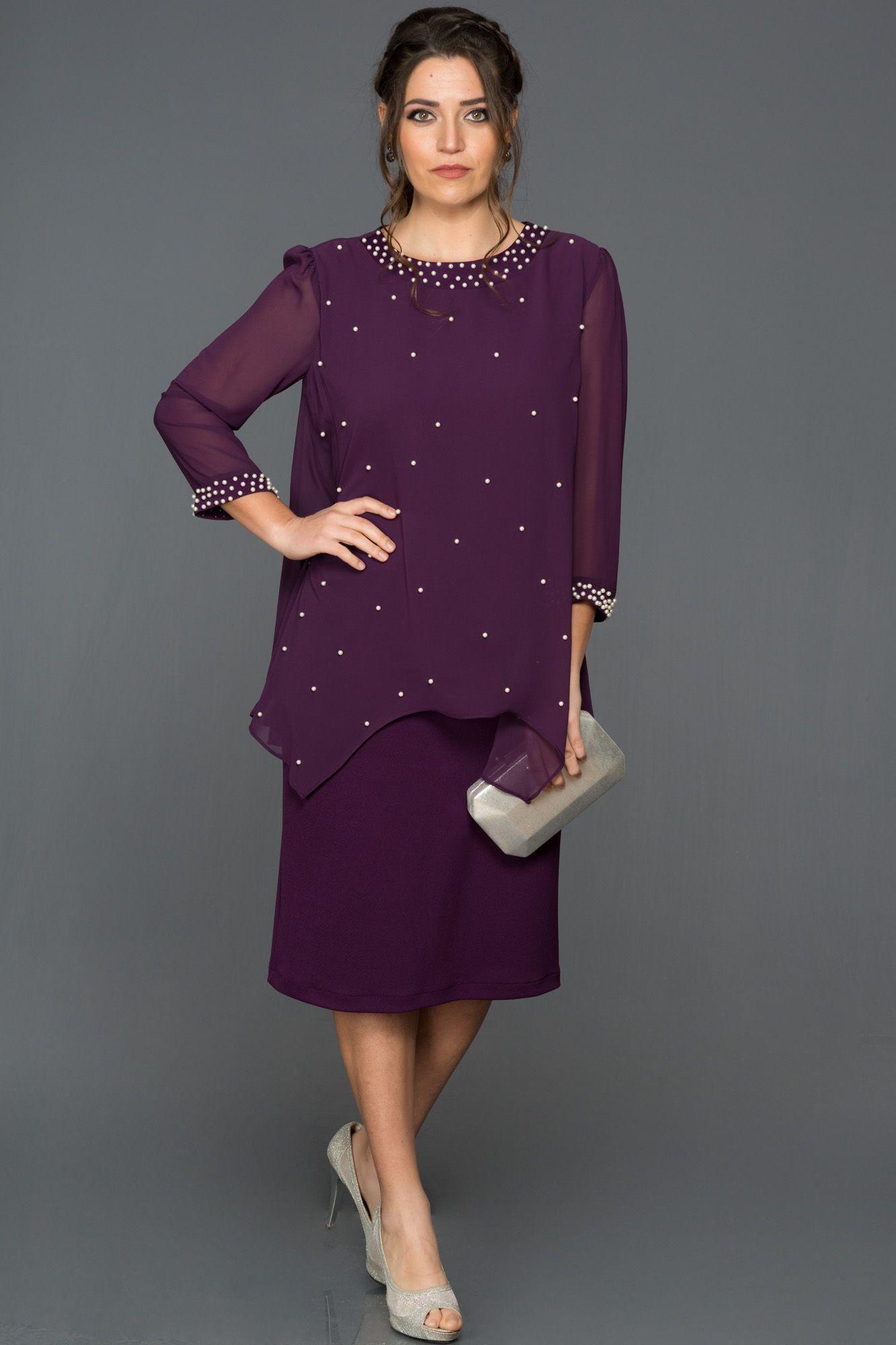 Mor Kapri Kol Buyuk Beden Abiye Abk030 Mor Elbise The Dress