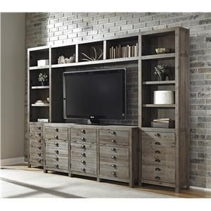 Signature Design By Ashley Keeblen Rustic Gray Brown Pine Bats This Heritage Entertainment Center