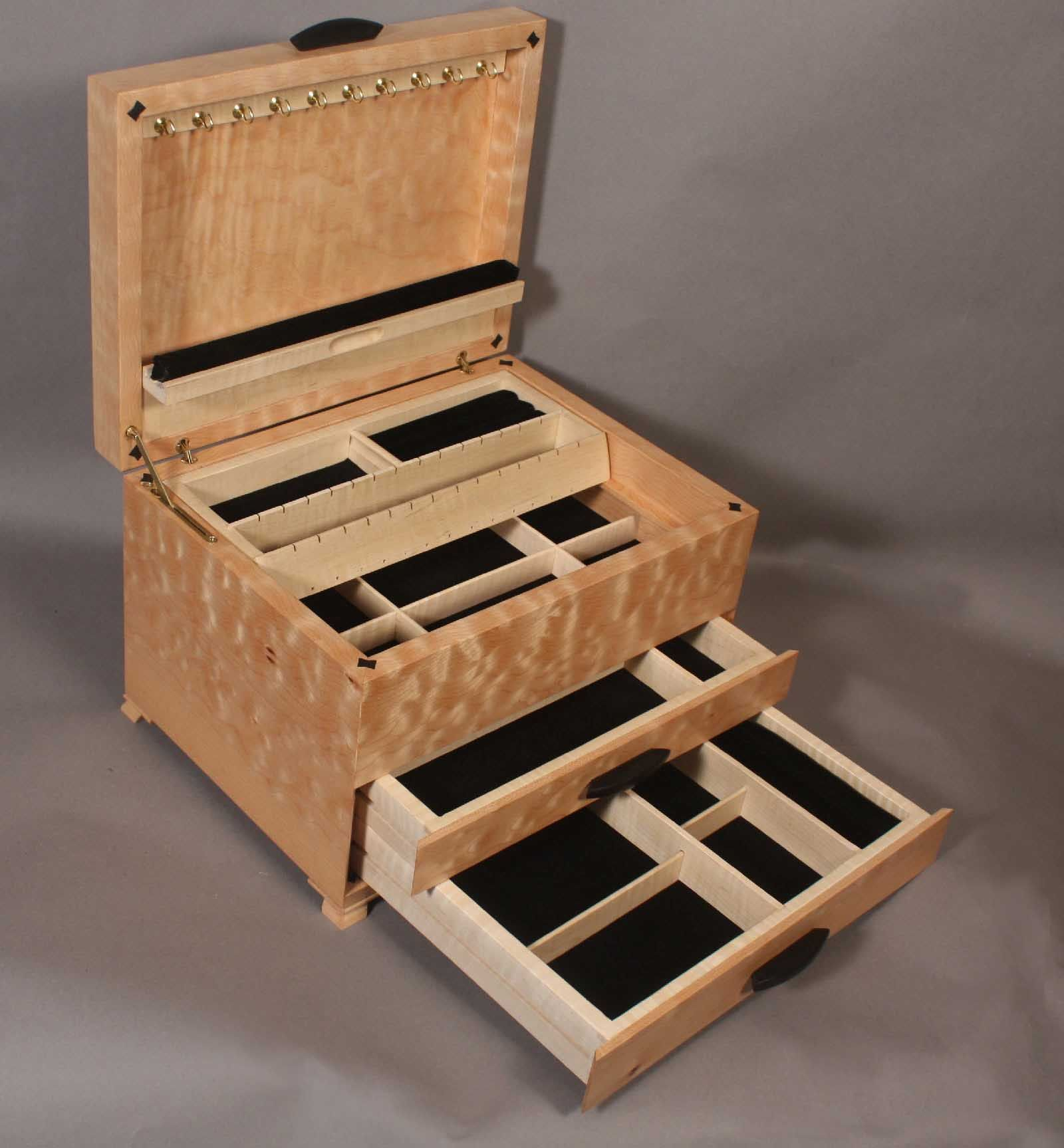 open view of quilted maple jewelry box Jewelry For Todays Woman