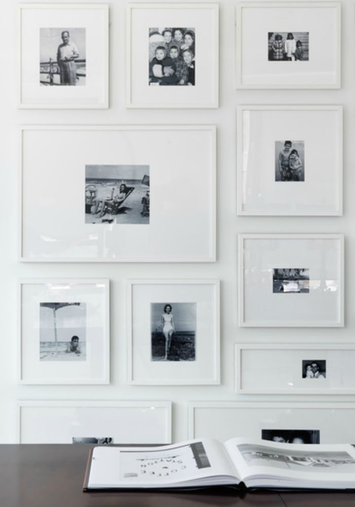 A really serene way of displaying your family portraits - white ...
