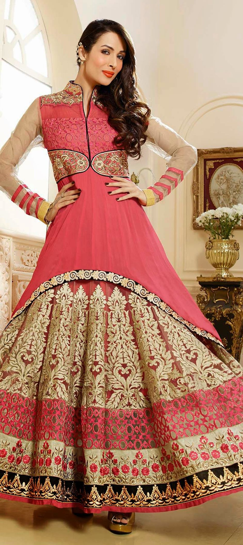 431118: Pink and Majenta color family unstitched Bollywood Salwar ...