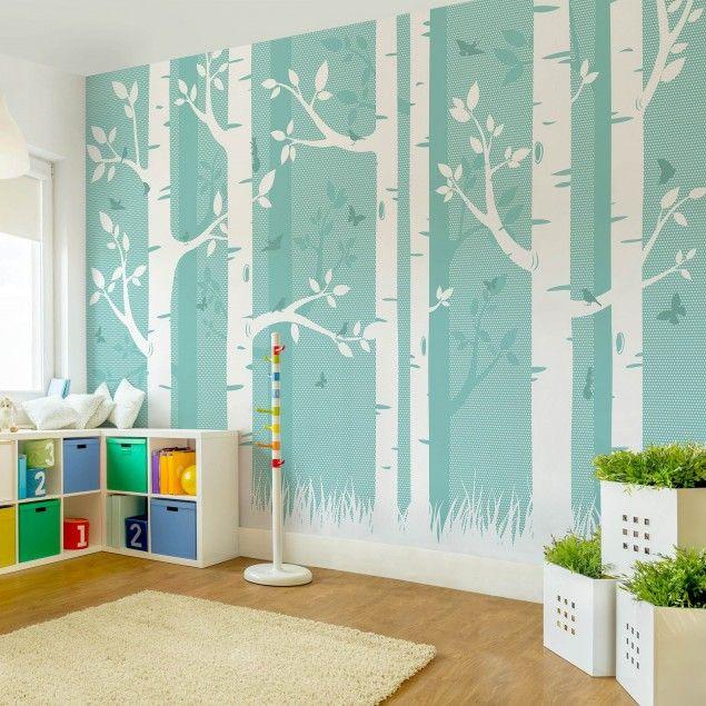 vliestapete fototapete gr ner birkenwald mit schmetterlingen und v gel fototapete breit. Black Bedroom Furniture Sets. Home Design Ideas