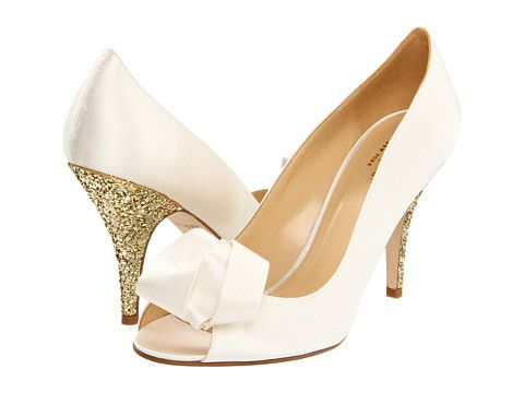 b232cf23f137 These are seriously perfect…why so much! ! Kate Spade New York Clarice  Ivory Satin Gold Glitter - Zappos Couture. Kate Spade wedding shoes ...