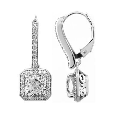 ca07300b8 100 Facets by DiamonArt® Square Halo Cubic Zirconia Drop Earrings found at  @JCPenney