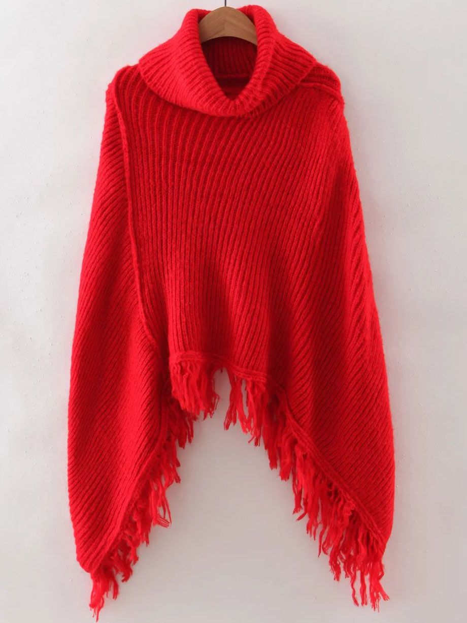 Red Turtleneck Fringe Poncho Sweater | Shops, Cats and Sweaters