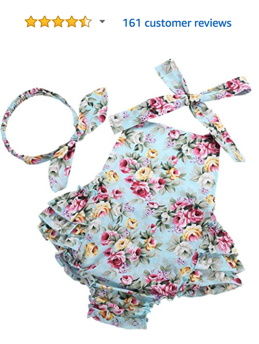 1213255fd141 Baby girl rompers from Amazon! Perfect for spring and summer photo  sessions. Baby Girl s Floral Print Ruffles ...