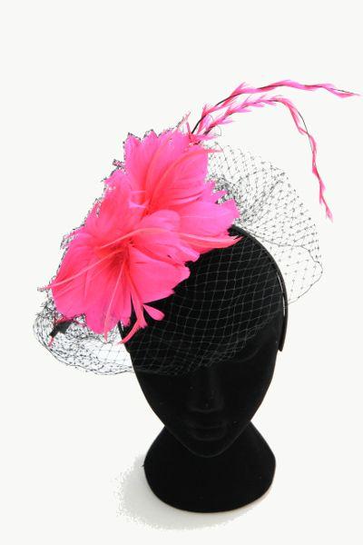 Hot pink flower fascinator white netting not black vow hot pink flower fascinator white netting not black mightylinksfo