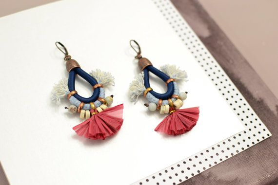 Red Fan orecchini nappa orecchini orecchini blu scuro di gudbling
