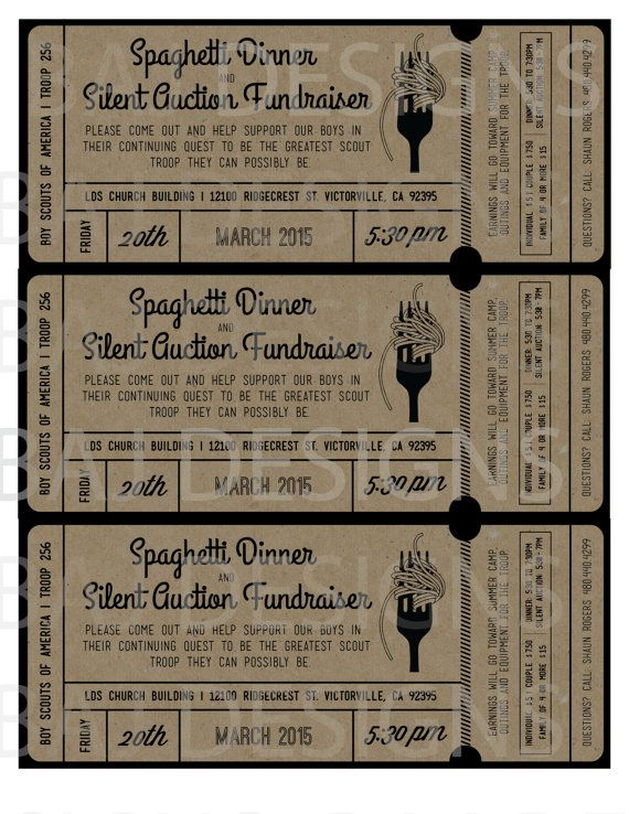 fundraiser ticket design spaghetti dinner silent by bajdesigns