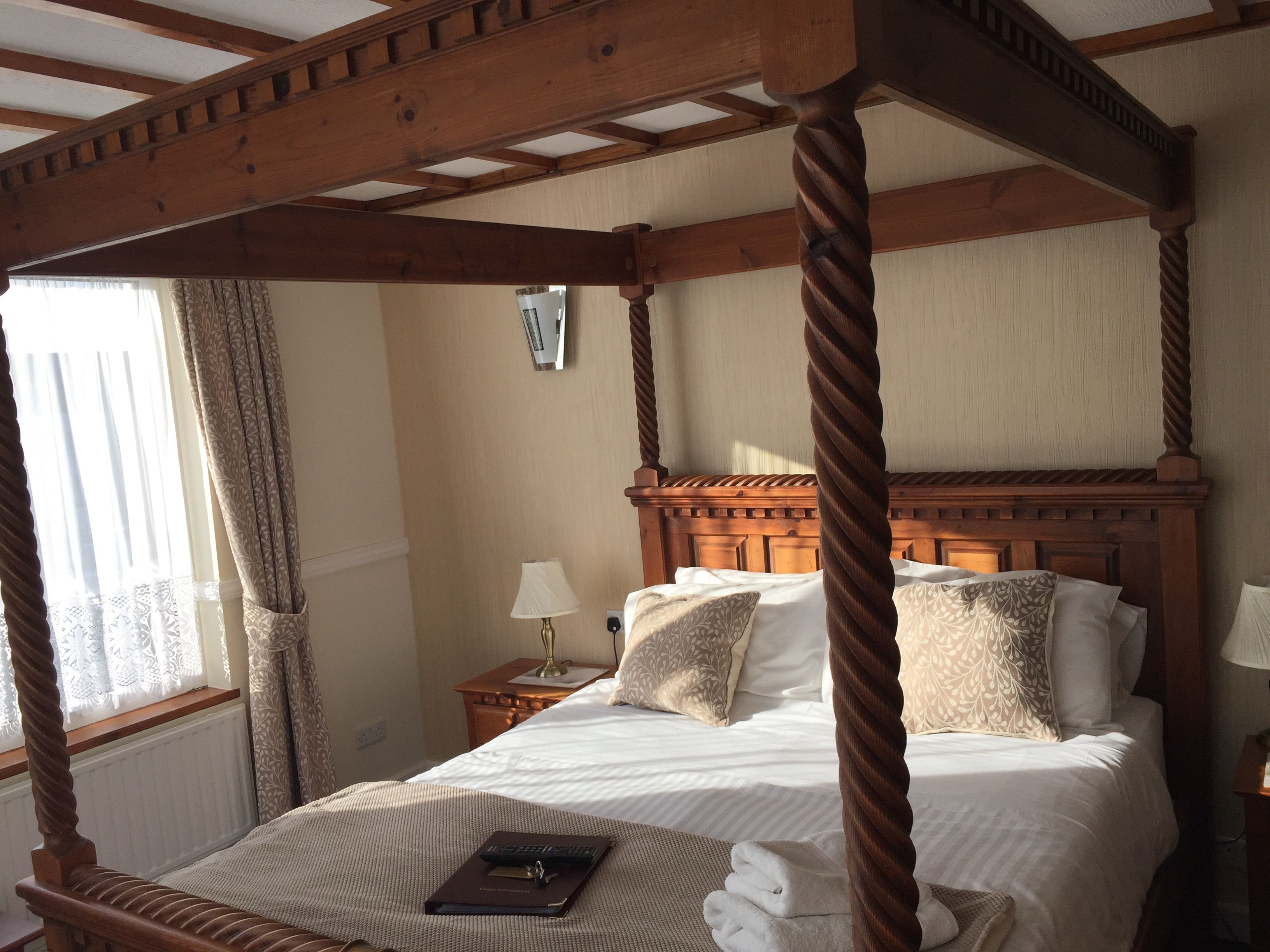 Our newly refurbished four poster bedroom Guest house