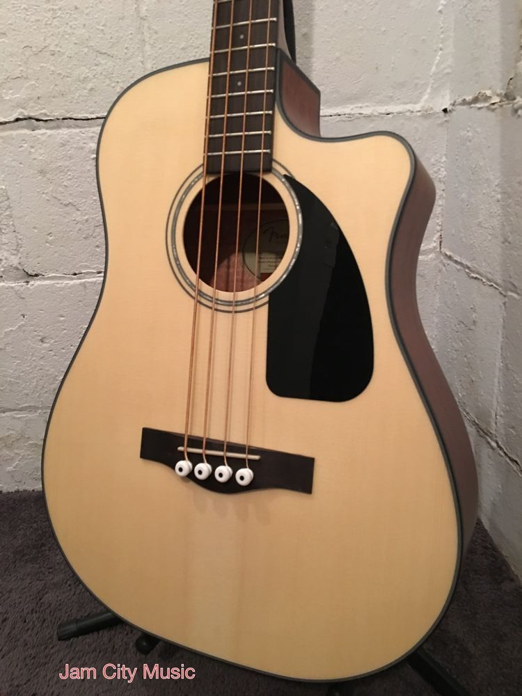 Fender Cb 100ce Dreadnought Cutaway Acoustic Electric Bass Natural Like New Fender Acoustic Electric Bass Acoustic Bass