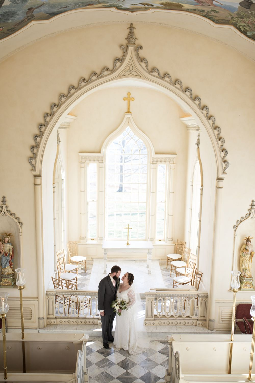 Bride And Groom Portraits In A Gorgeous Wedding Chapel