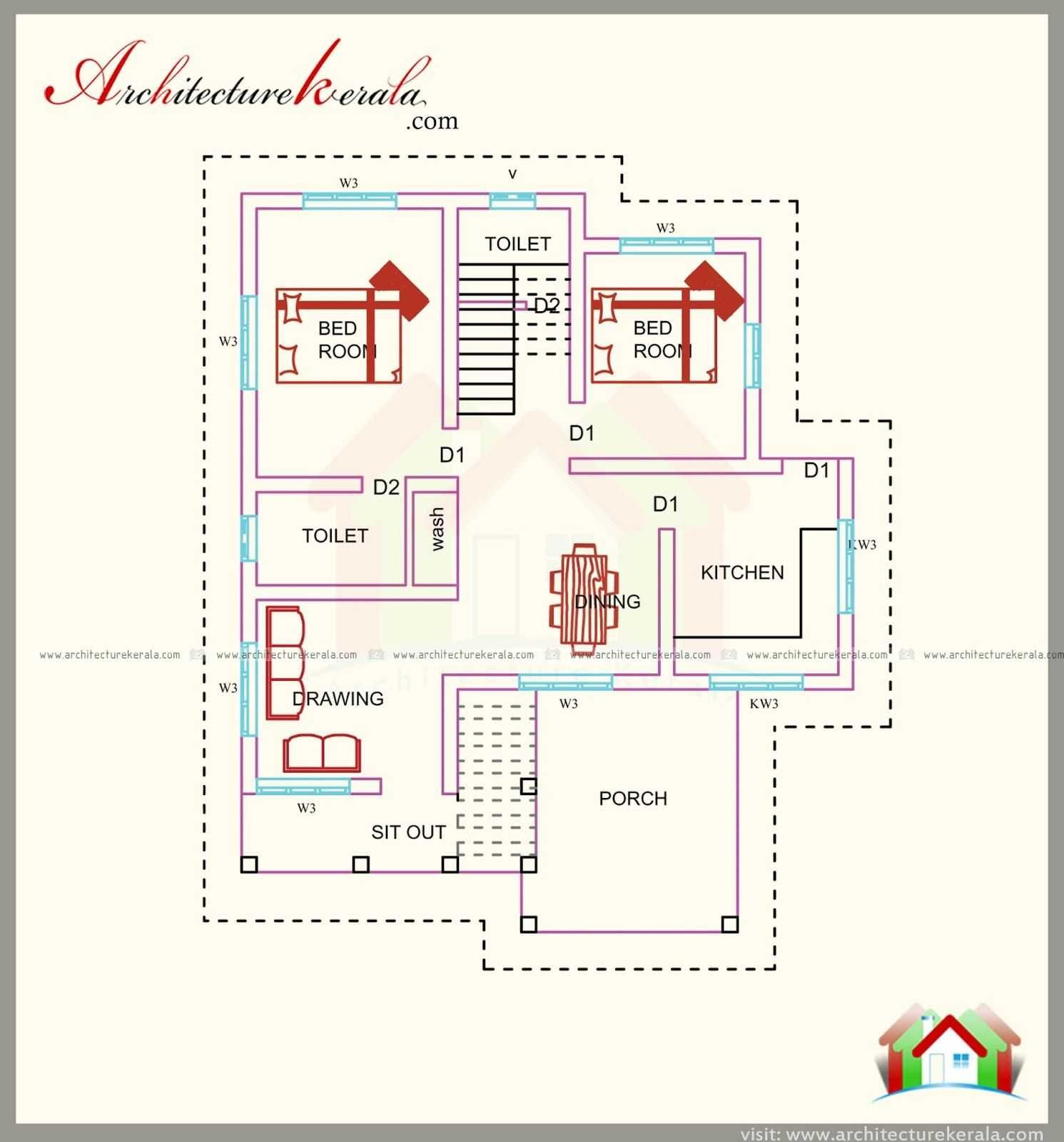 1800 To 2000 Sq Ft Ranch House Plans With 1500 Sq Ft House Plan With Elevation Three Bedrooms Ar 1500 Sq Ft House House Plans With Pictures Kerala House Design