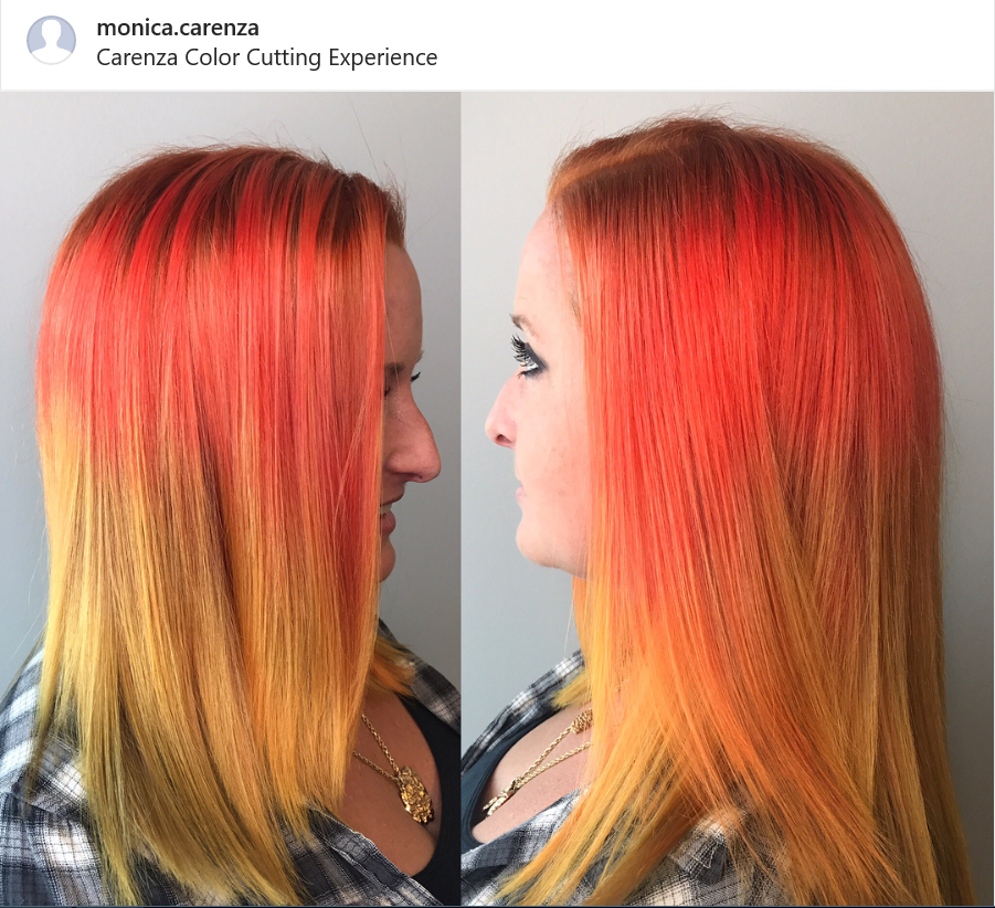 Orange To Yellow Hair By Monica At Carenza Color Cutting Experience