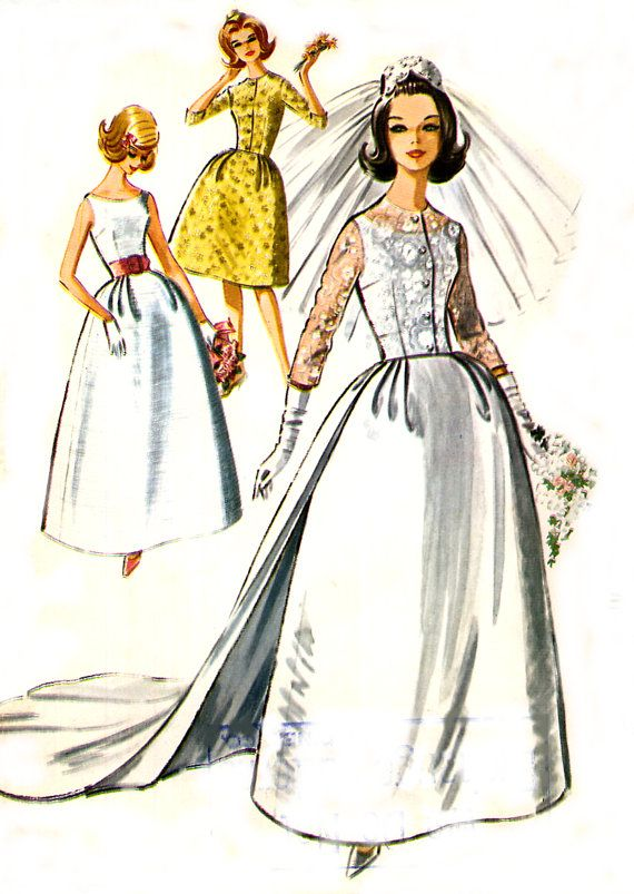 Vintage 60s Wedding Dress Pattern - McCalls 6695 - Detachable Train ...