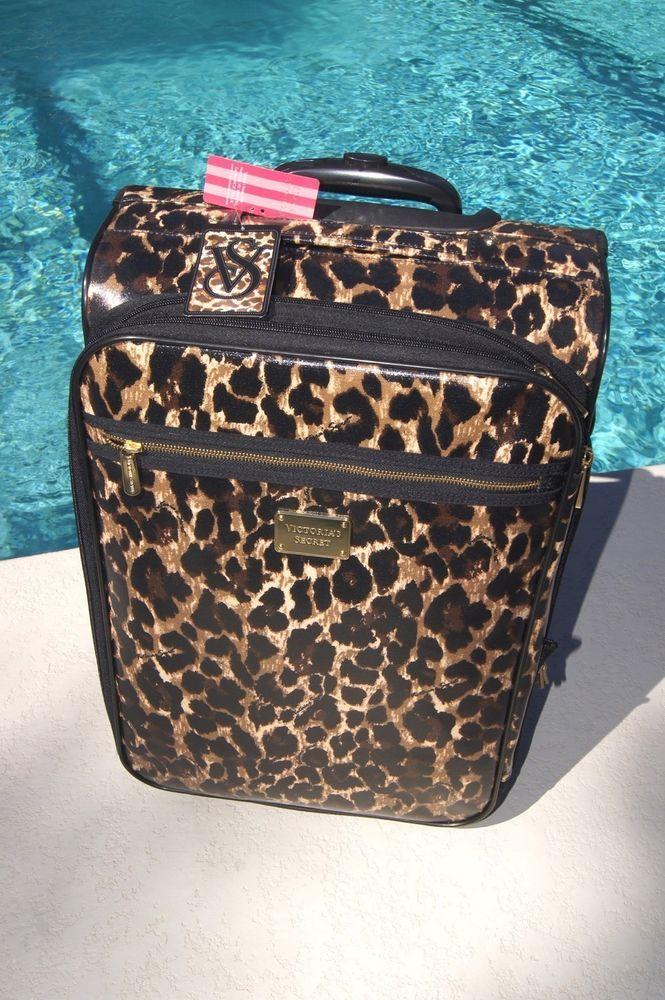 d64b068628e9 Details about NEW Victoria's Secret PINK Leopard Travel Luggage ...