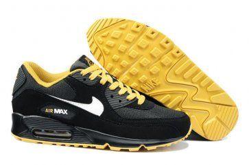 online retailer 39407 a3f9a Nike Air Max 90 Mens Black White-Gold Shoes