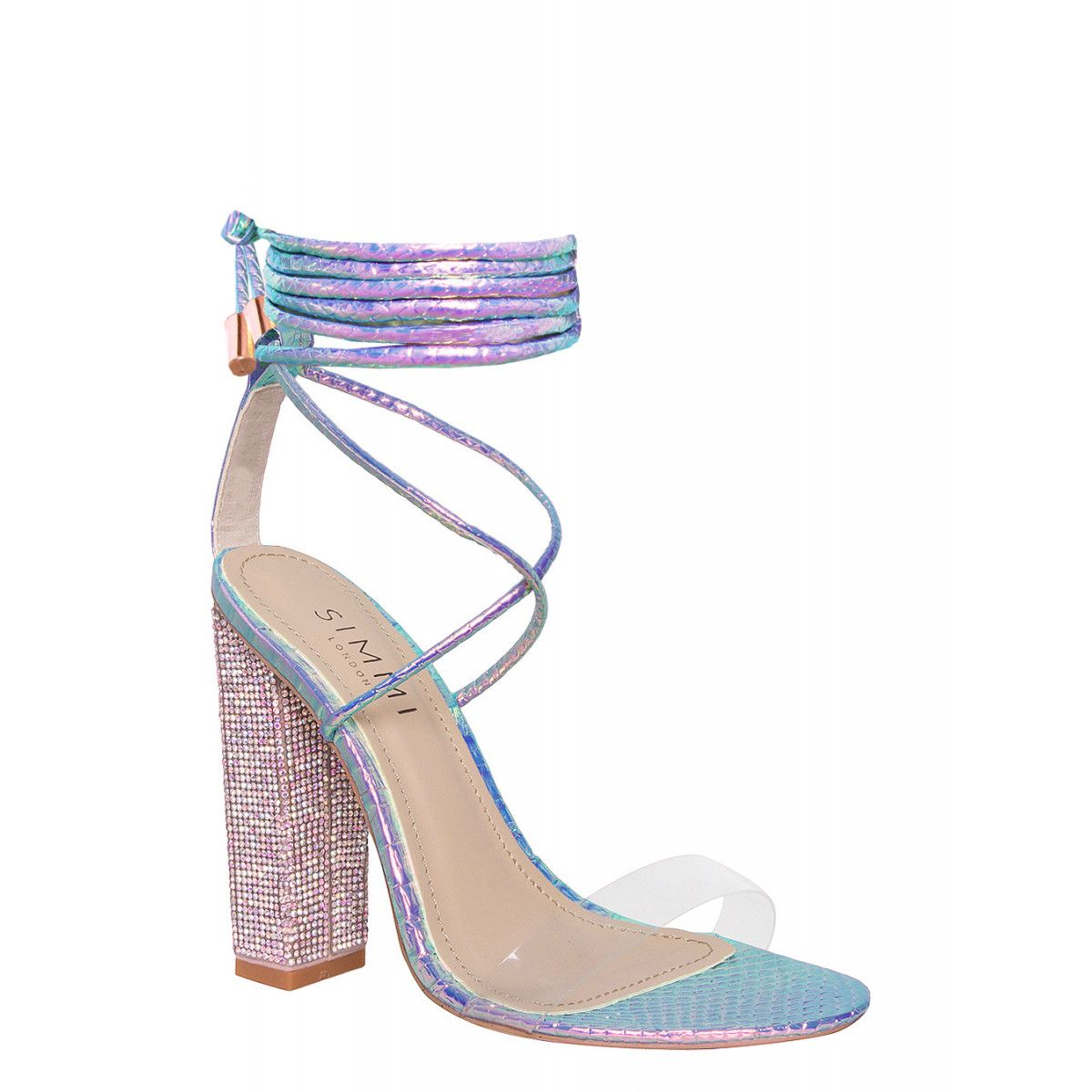 cce6c4c70 Karla Rainbow Snake Clear Lace Up Diamante Heels   Simmi Shoes