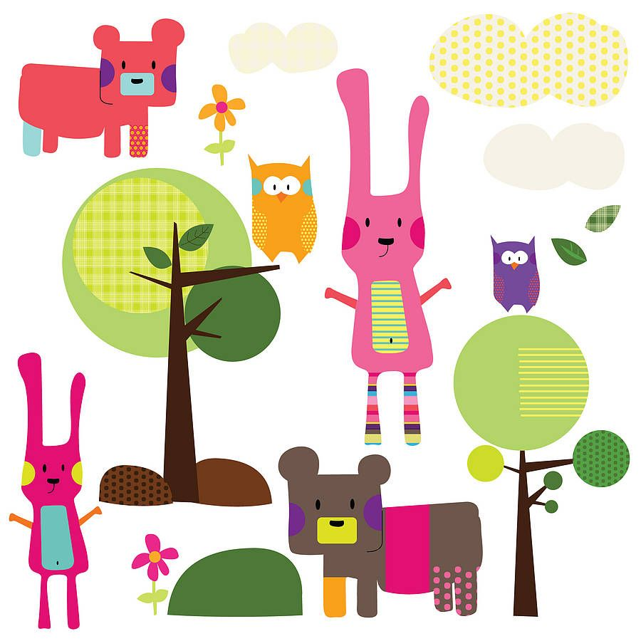 Woodland animal wall stickers woodland animals wall sticker and walls