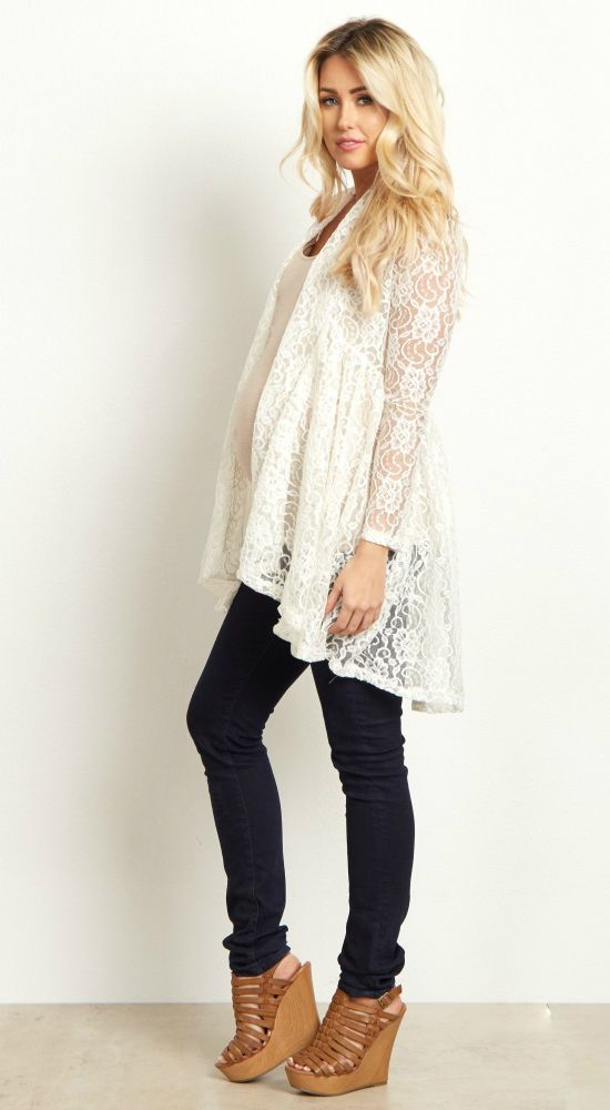 This long sleeve floral print maternity cardigan is perfect when you want  to feel feminine and look casual. This delicate floral lace open cardigan  will go ... 674fc6b63
