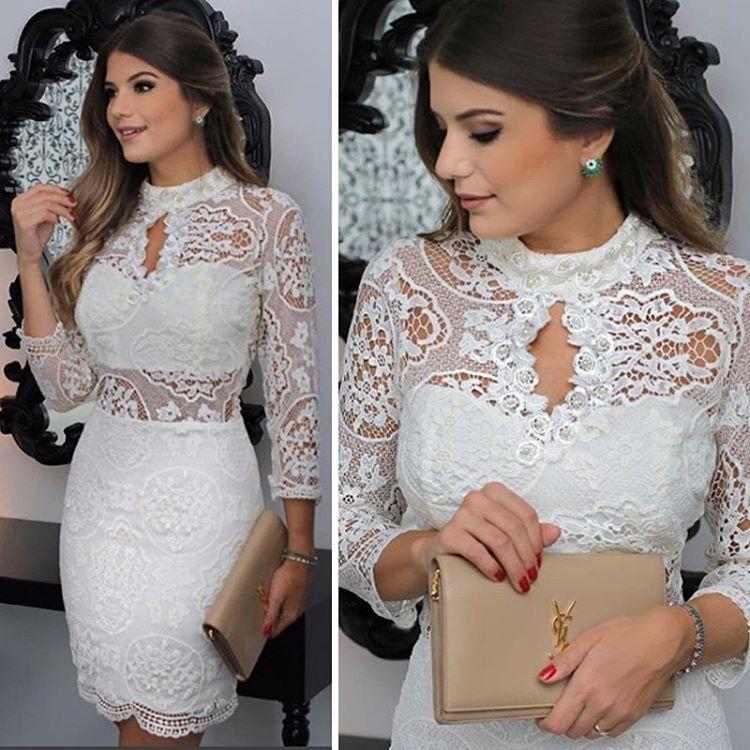 Para o réveillon ou para as noivinhas de plantão✨ Delicadeza total nesse dress: guipir com bordado de pérolas ❤️❤️❤️