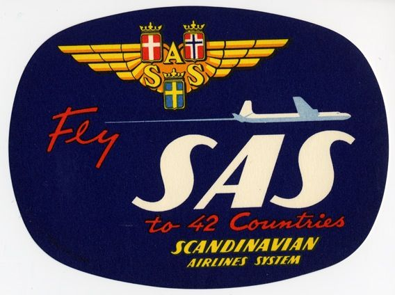 Luggage Label Sas Scandinavian Airlines System Vintage Airline Posters Scandinavian Airlines System Luggage Labels