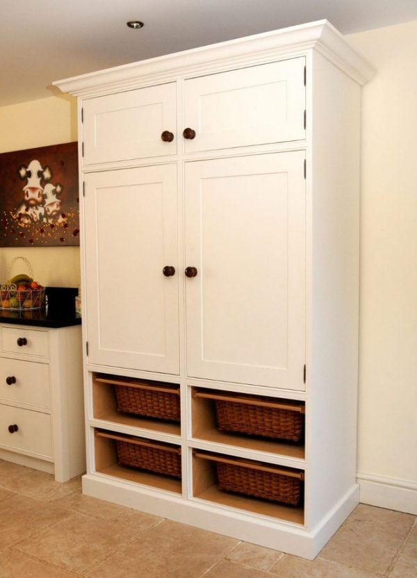 White Painted Mahogany Wood Free Standing Kitchen Pantry Using Four Brown Varnished Rattan Drawers