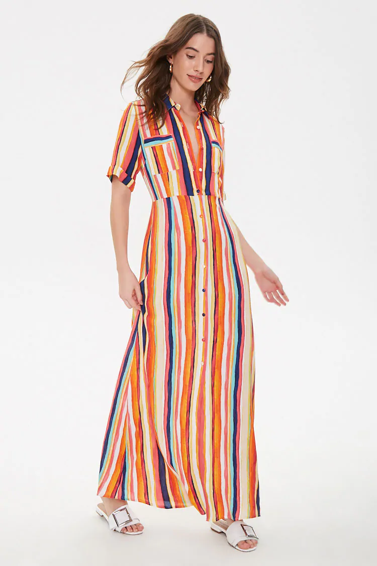 Multicolor Striped Maxi Dress Forever 21 Striped Maxi Maxi Dress Dresses [ 1125 x 750 Pixel ]