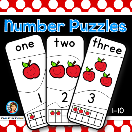Self correcting number puzzles (1 - 10).  Students have to match the number, number name, number of objects and ten frame to complete each puzzle. CCSS.MATH.CONTENT.K.CC.B.4  $