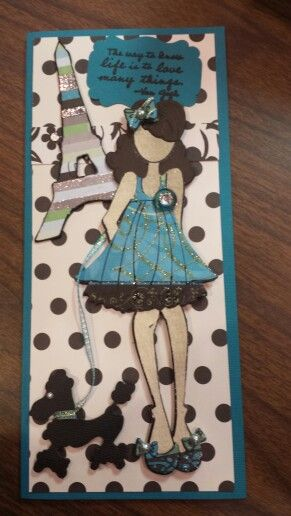 """""""A Day In Paris"""" Card featuring the """"Halie"""" Julie Nutting Paper Dolls Stamp & Die set. Designed by Letty"""